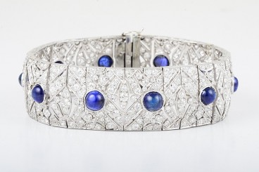 French Art Deco Sapphire Diamond Bracelet