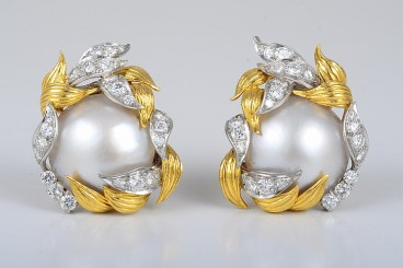 David Webb Mabe Pearl & Diamond Earrings