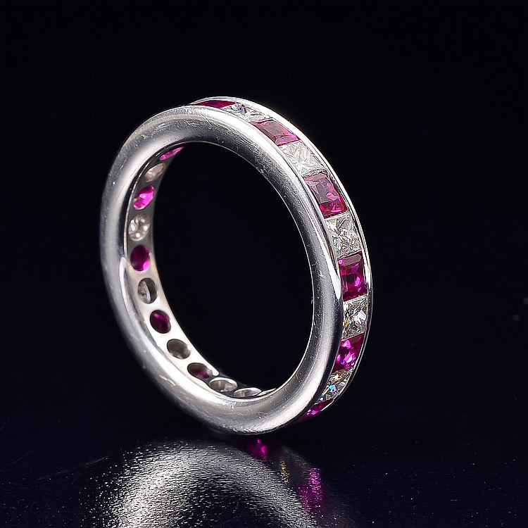 18K white gold diamond ruby eternity band