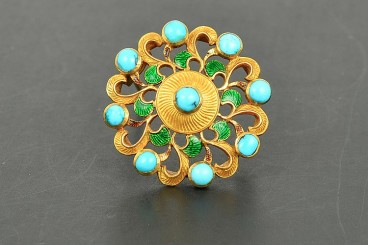 Antique Carlo Guliano 18K YG multi-stone brooch