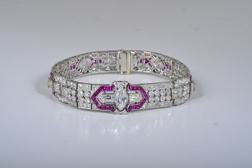 Art Deco Platinum Diamond Ruby Bracelet