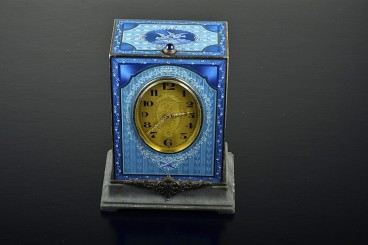 Art Deco Swiss Blue Enameled Silver and Marble Minute-Repeating Clock