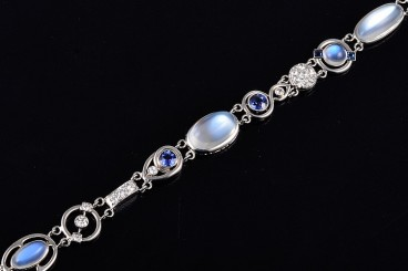 Art Deco platinum moonstone diamond sappphire bracelet