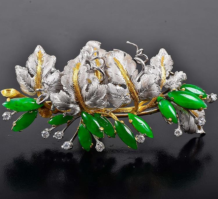 Buccellati jade diamond brooch