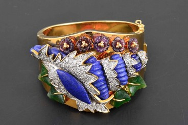18K Lapis, Jade, Amethyst & Diamond Hinged Bangle