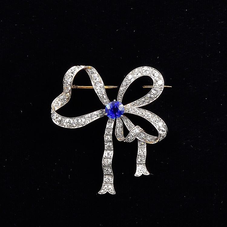 Marcus & Co Sapphire Diamond Bow Brooch