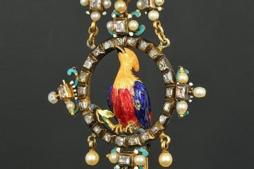 Massive Renaissance Revival Silver & Gold Enamel Diamond Pendant
