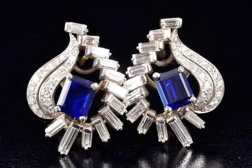 Oscar Heyman Platinum Diamond Sapphire Earrings
