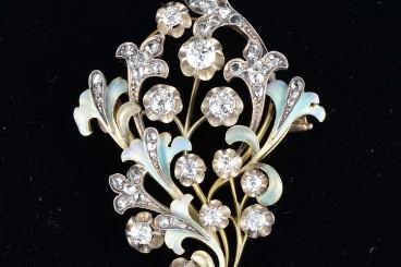 Russian Art Nouveau enamel diamond brooch