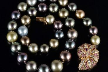 Tiffany multi color sapphire clasp and multi-colored pearl necklace