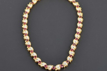 Tiffany&Co 18K YG/WG Ruby and Diamonds Necklace