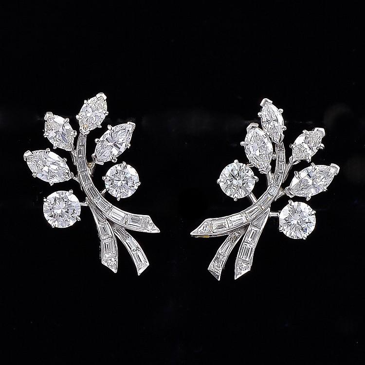 Vintage Van Cleef & Arpels Platinum Diamond Earrings