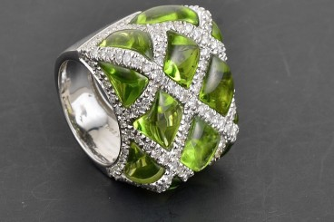 Peridot Cabochons & Diamond Ring Possibly by Bellari