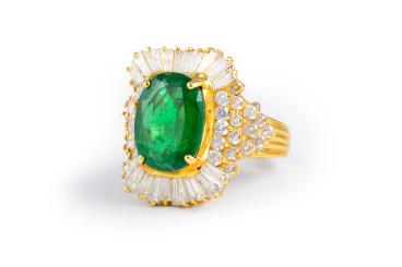 Emerald Diamond Cocktail Ring