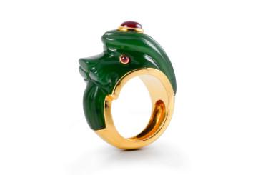Rare David Webb Jade Dragon Ring