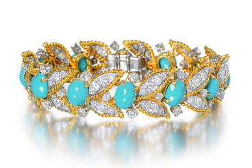 A Van Cleef & Arpels turquoise and diamond bracelet sold by Fortuna Auction