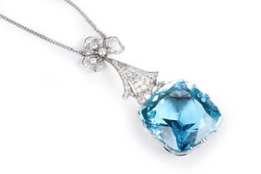 Edwardian Aquamarine Diamond Necklace