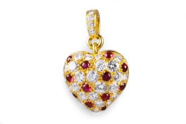 Cartier Diamond Ruby Heart Pendant