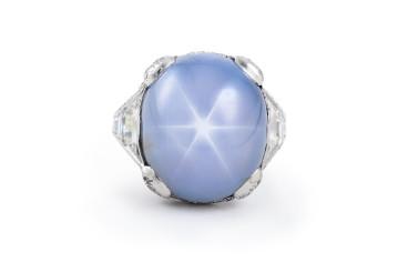 Art Deco Platinum and Diamond Star Sapphire Ring