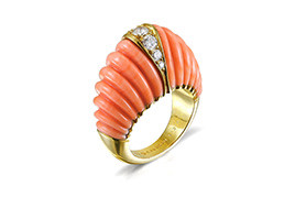 VC&A Coral and Diamond Ring