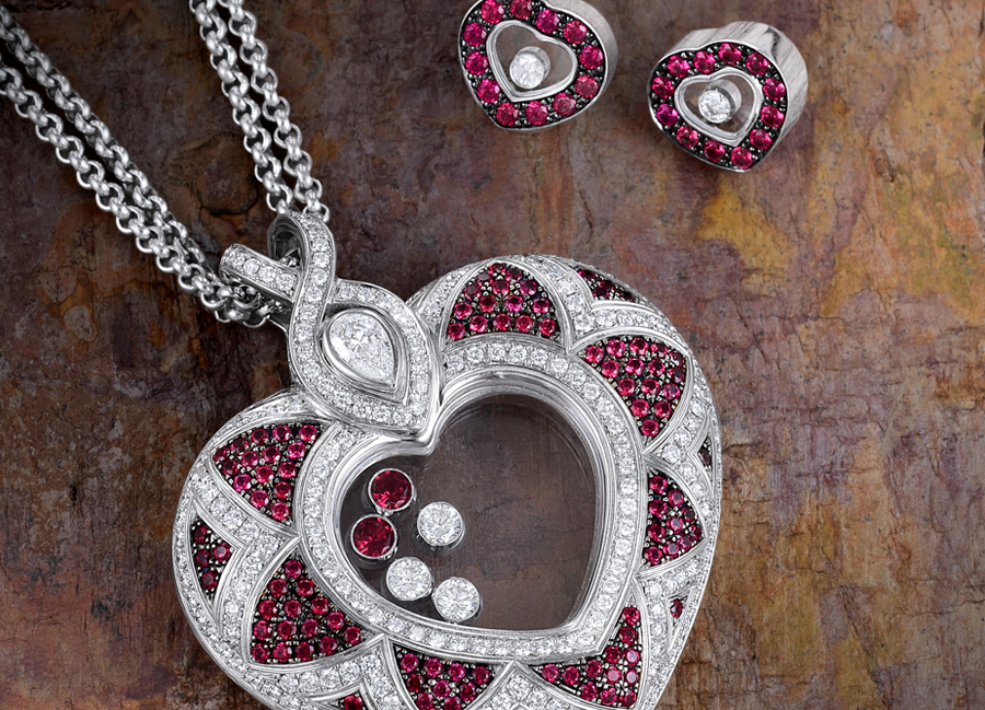 Chopard Diamond Ruby Necklace and Earrings