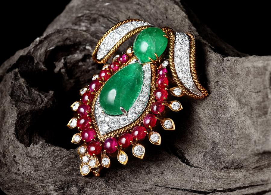 David Webb Emerald Diamond Ruby Brooch