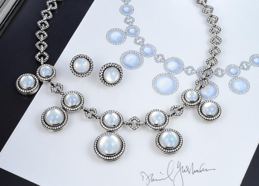 David Yurman Moonlight Ice Necklace Earrings Set