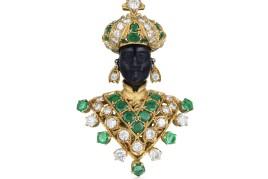 Nardi Emerald and Diamond Blackamoor Brooch