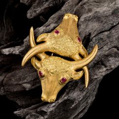 Ilias Lalaounis Gold Ruby Bull Brooch- Fortuna Auction NYC