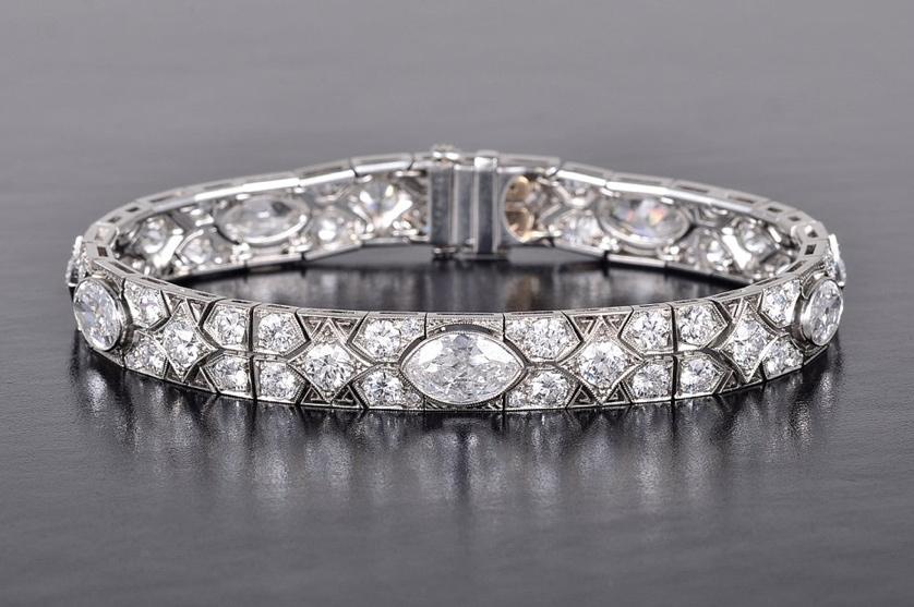 Art Deco Cartier Platinum Diamond Bracelet