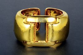David Webb Wide Gold Bangle