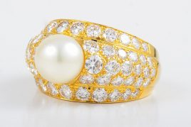 Cartier Gold Diamond & Pearl Ring