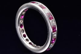 18K white gold diamond ruby eternity band