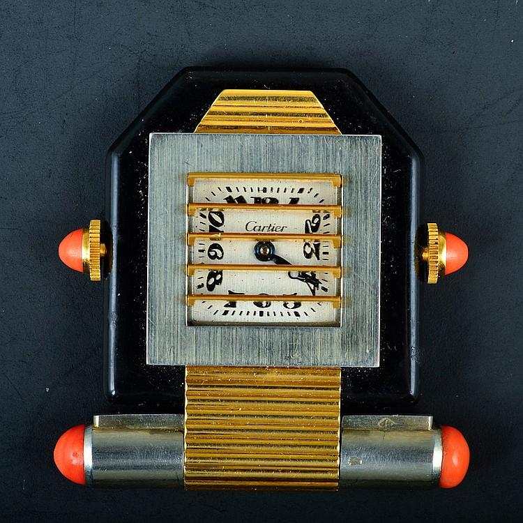 Cartier 18K YG Coral Enamel Mechanical Pocket Watch