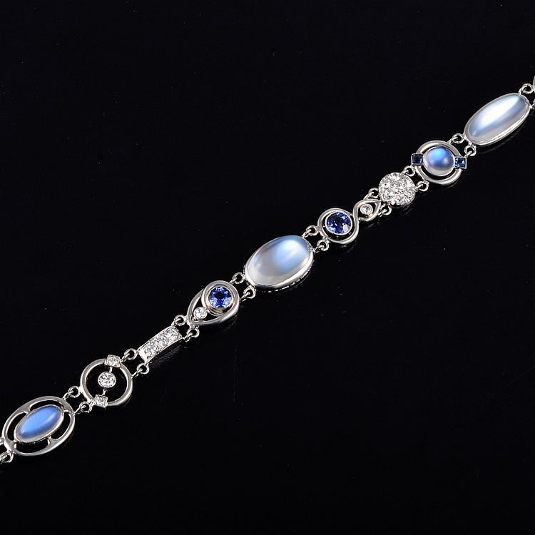 Art Deco platinum moonstone diamond sappphire bracelet