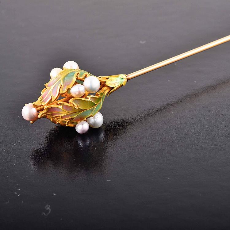 Art Nouveau plique-a-jour natural pearl hat pin
