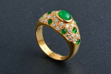 Cartier 18K YG Emerald & Diamond Ring