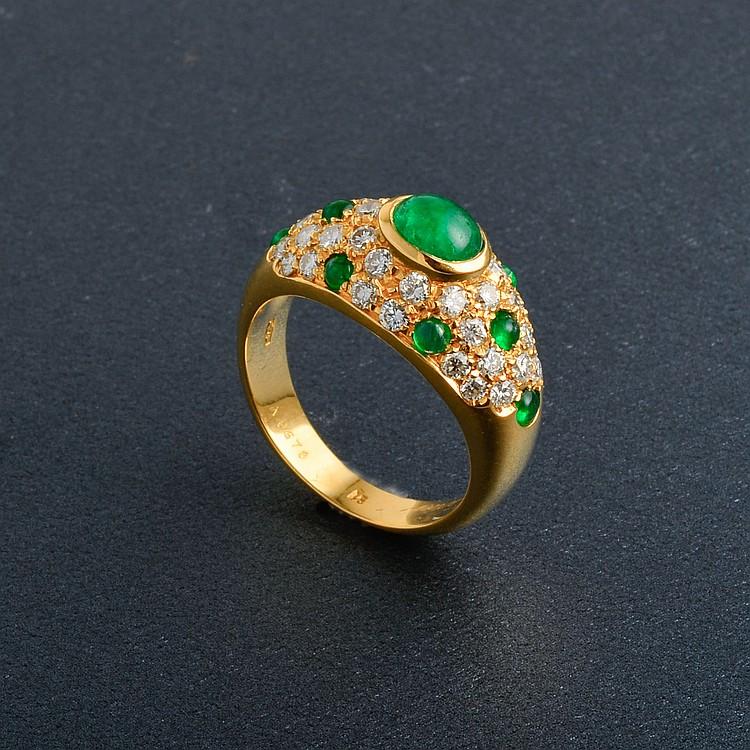 Cartier 18K YG Emerald & Diamond Ring