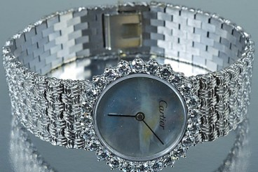 Cartier Diamond 18K White Gold Lady's Wristwatch