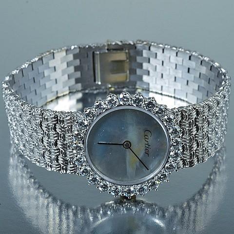Cartier Diamond 18K White Gold Lady's Wristwatch