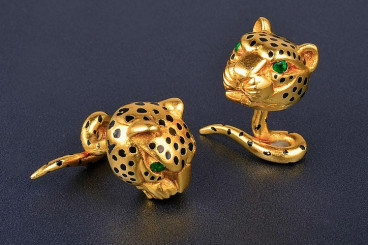 Cartier Gold Enamel Panther Cufflinks