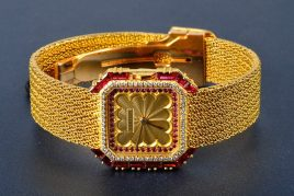 Cartier Gold, Ruby and Diamond Wristwatch