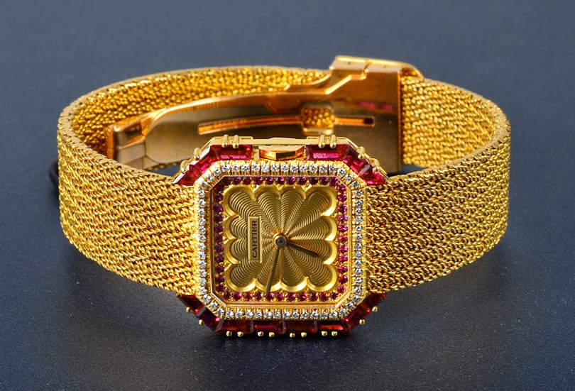 Cartier Gold, Ruby and Diamond Wristwatch