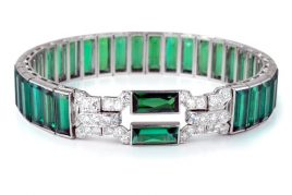 Art Deco Cartier Diamond and Tourmaline Bracelet