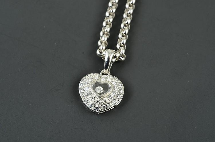 Chopard 18K WG Diamond Heart Necklace