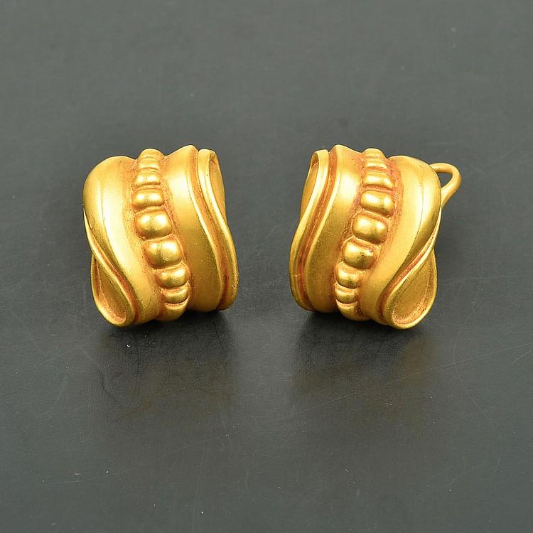 Kieselstein Cord 18K YG Clip-On Artistic Earrings