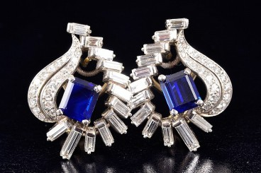 Oscar Heyman Platinum Diamond Sapphire Earrings
