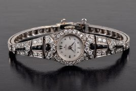 Rolex Art Deco diamond onyx watch