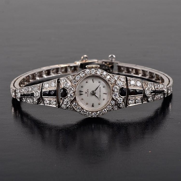 Rolex Art Deco diamond onyx watch