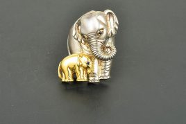 Tiffany&Co; 18K & Sterling Silver Mother & Calf Elephant Brooch